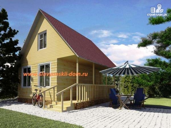 Фото: проект деревянный дом 6х6 из бруса, с террасой