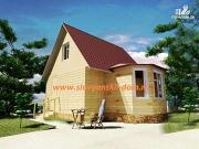 Фото: деревянный дом 5х7 из бруса, с эркером