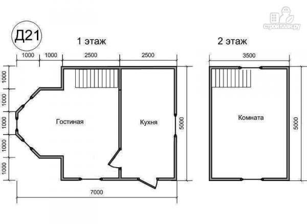Фото 2: проект деревянный дом 5х7 из бруса, с эркером