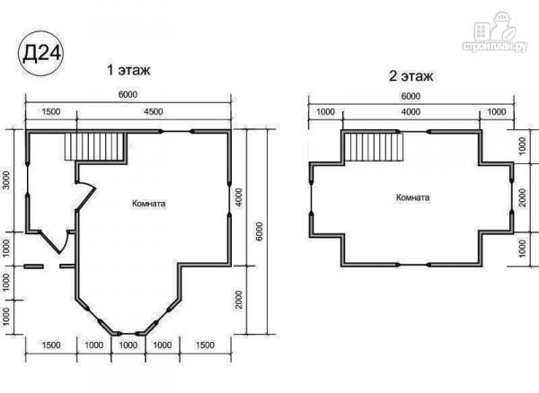 Фото 2: проект деревянный дом 6х6 из бруса, с эркером