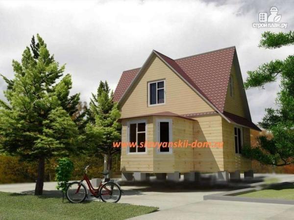 Фото: проект деревянный дом 6х6 из бруса, с эркером