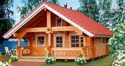 Фото: деревянный дом из бруса, с мансардой