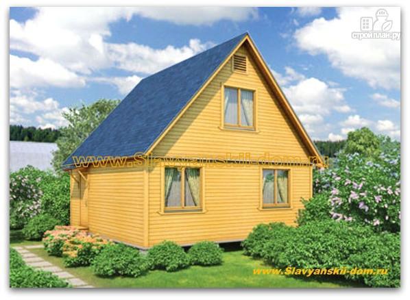Фото: проект деревянный дом 6х6 из бруса