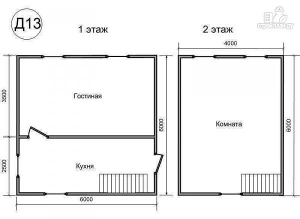 Фото 2: проект деревянный дом 6х6 из бруса, с ломанной крышей