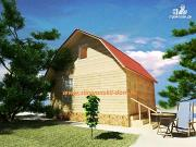 Проект деревянный дом 6х6 из бруса, с ломанной крышей