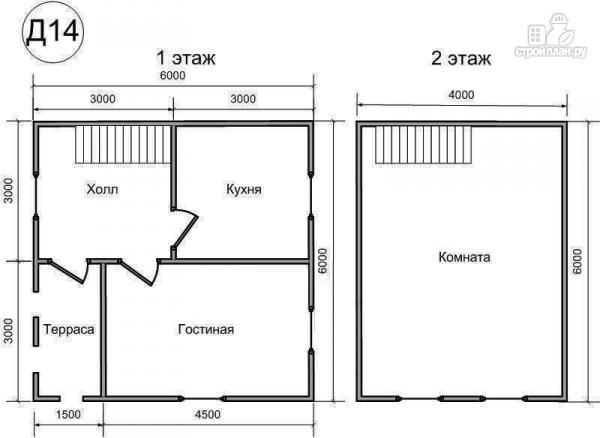 Фото 2: проект деревянный дом 6х6 из бруса, с ломанной крышей и крыльцом