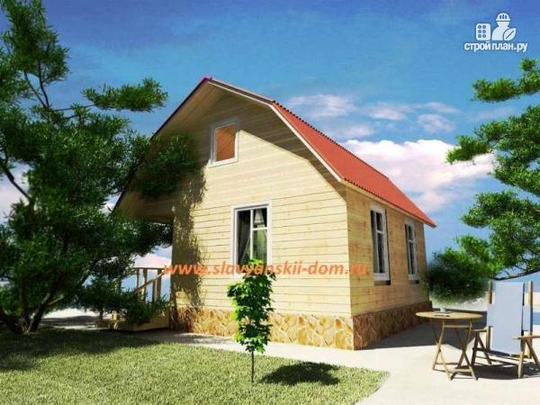 Фото: проект деревянный дом 6х6 из бруса, с ломанной крышей и крыльцом