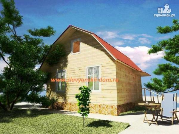 Фото: проект дом из бруса с ломанной крышей и наружным крыльцом