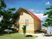 Проект дом из бруса с ломанной крышей и наружным крыльцом