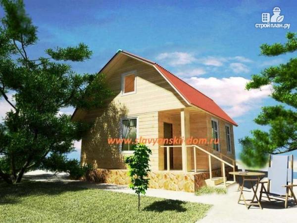 Фото: проект деревянный дом 6х6 из бруса, с ломанной крышей