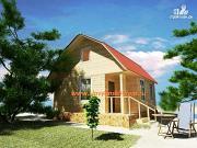 Фото: деревянный дом 6х6 из бруса, с ломанной крышей