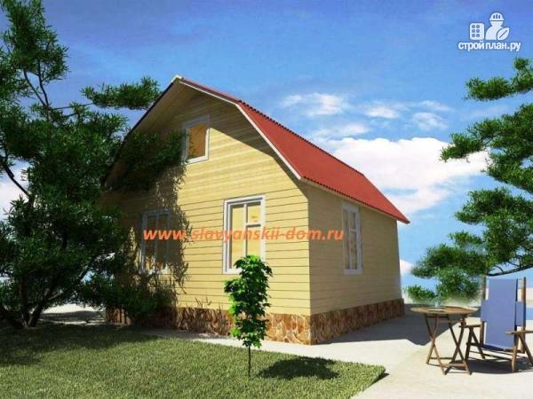 Фото: проект деревянный дом из бруса, с ломанной крышей и крыльцом