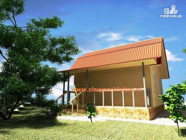 Фото: проект деревянный дом из бруса, с ломанной крышей и террасой