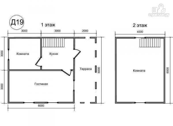 Фото 2: проект деревянный дом 6х8 из бруса, с террасой