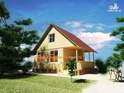 Проект деревянный дом 6х8 из бруса, с террасой