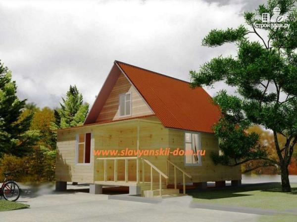 Фото: проект деревянный дом 6х8 из бруса
