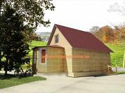 Фото: деревянный дом 6х8 из бруса, с эркером