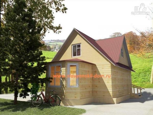 Фото: проект деревянный дом 6х8 из бруса, с эркером