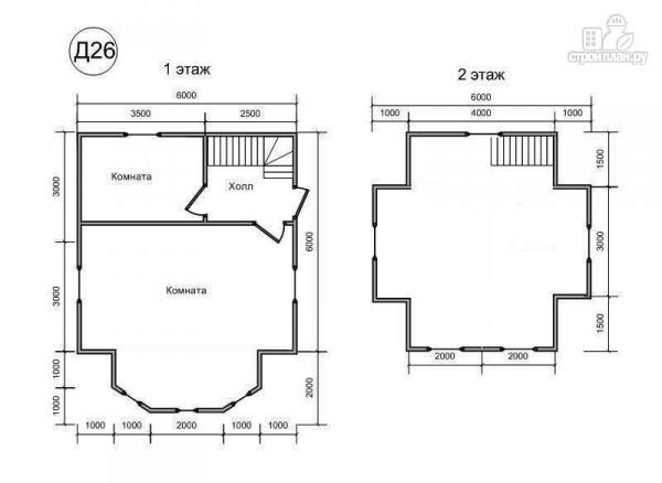 Фото 2: проект деревянный дом 6х8 из бруса, с эркером