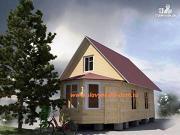 Фото: деревянный дом из бруса, с эркером и верандой