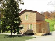 Фото: деревянный дом 6х8 из бруса, с крыльцом