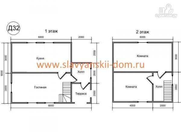 Фото 2: проект деревянный дом 6х8 из бруса, с крыльцом