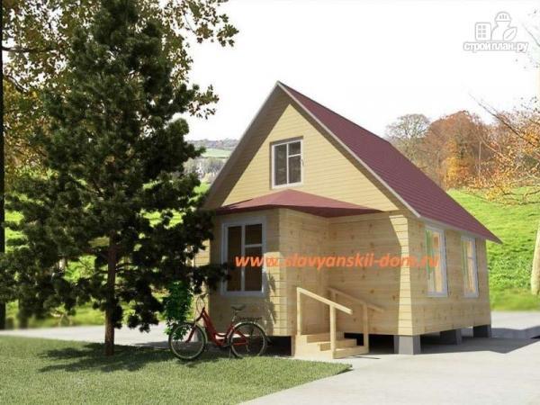 Фото: проект деревянный дом из бруса, с крыльцом и верандой