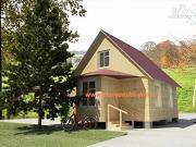 Фото: деревянный дом из бруса, с крыльцом и верандой