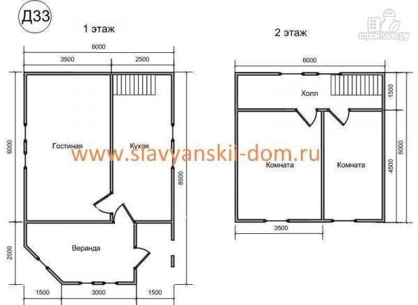 Фото 2: проект деревянный дом из бруса, с крыльцом и верандой