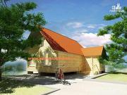 Фото: деревянный дом из бруса с мансардой