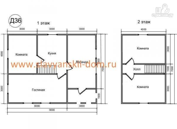 Фото 2: проект деревянный дом 7х9 из бруса, с верандой