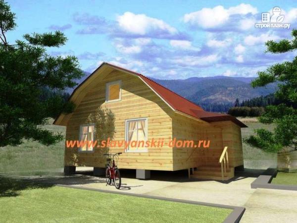 Фото: проект деревянный дом 7х9 из бруса, с верандой