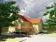 Фото: двухэтажный деревянный дом из бруса