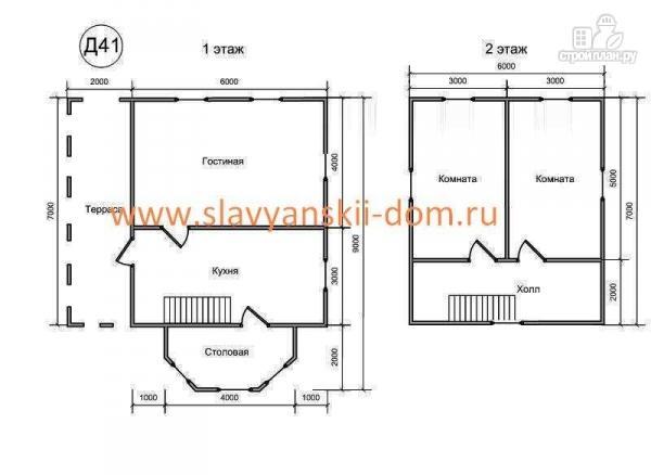 Фото 2: проект деревянный дом 8х10 из бруса с эркером и террасой