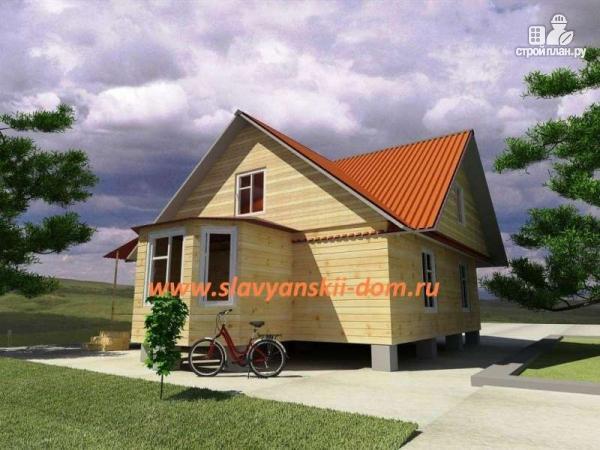 Фото: проект деревянный дом 8х10 из бруса с эркером и террасой