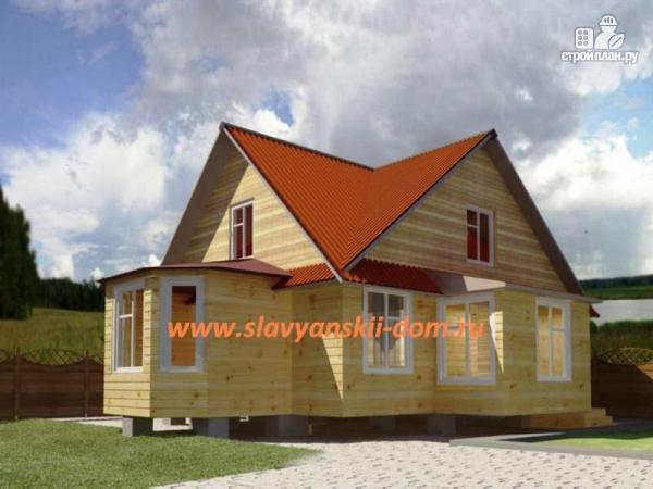 Фото: проект двухэтажный дом из бруса с эркером