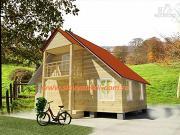 Фото: деревянный дом 6х7 из бруса, с балконом
