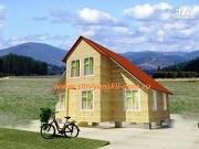 Фото: двухэтажный дом из бруса с мансардой