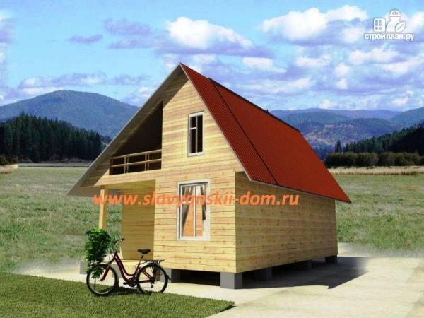 Фото: проект деревянный дом 6х8 из бруса с террасой и балконом