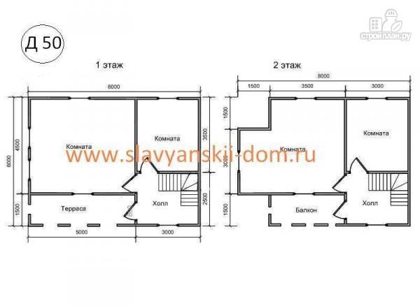 Фото 2: проект деревянный дом 6х8 из бруса с террасой и балконом
