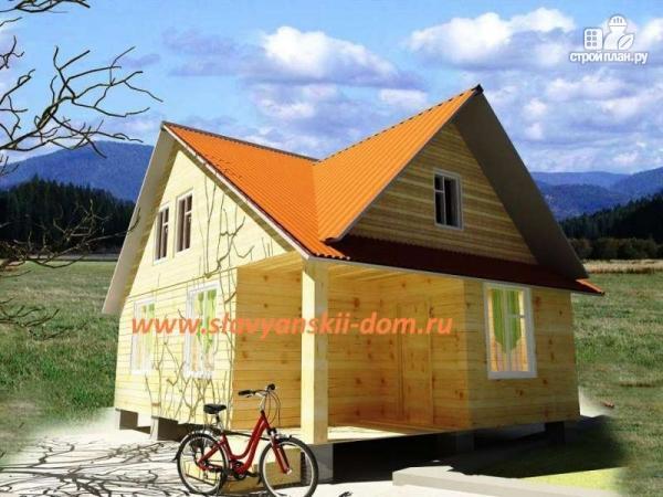 Фото: проект деревянный дом 6х8 из бруса с крыльцом