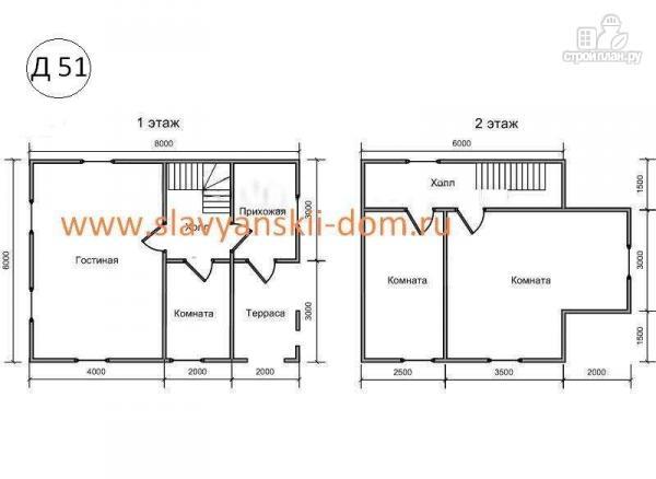Фото 2: проект деревянный дом 6х8 из бруса с крыльцом