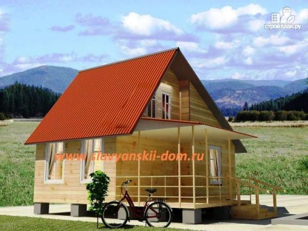 Фото: проект деревянный дом 8х8 из бруса с террасой