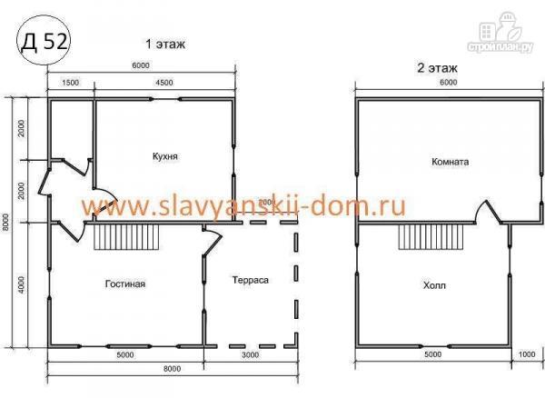 Фото 2: проект деревянный дом 8х8 из бруса с террасой