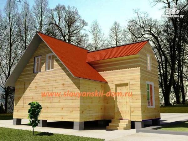 Фото: проект деревянный дом 8х9 из бруса