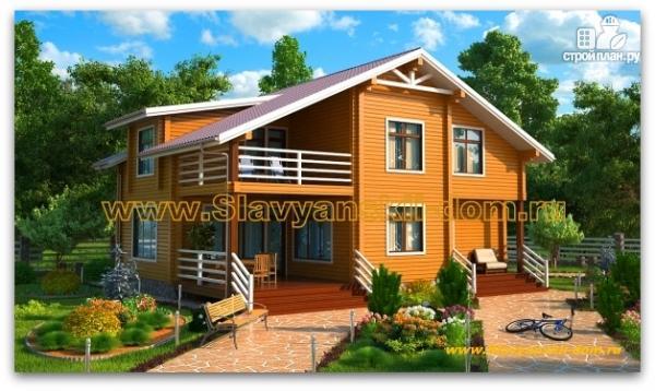 Фото: проект дом из бруса с балконом и террасой