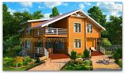 Проект дом из бруса с балконом и террасой