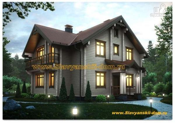 Фото: проект брусовой дом с сауной и террасой