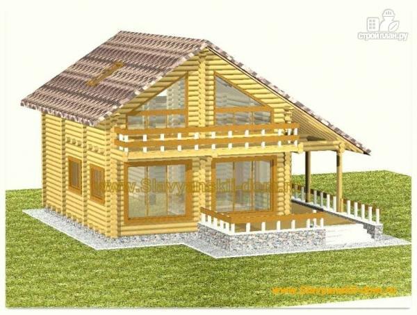 Фото: проект деревянный дом из оцилиндрованного бревна