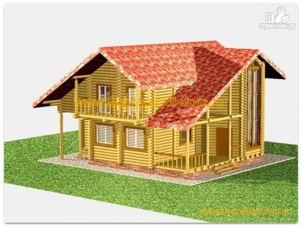 Фото: проект бревенчатый дом с балконом